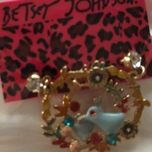 Betsey Johnson Blue Bunny Hoops